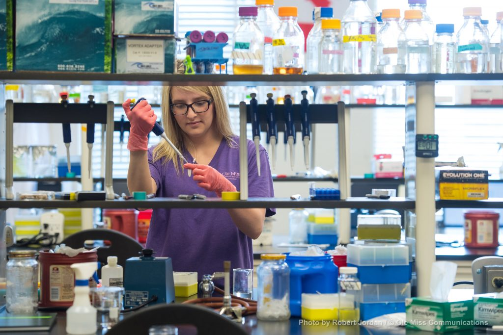 Kristen Warner, senior Biology major, prepares DNA extractions for bacterial DNA research